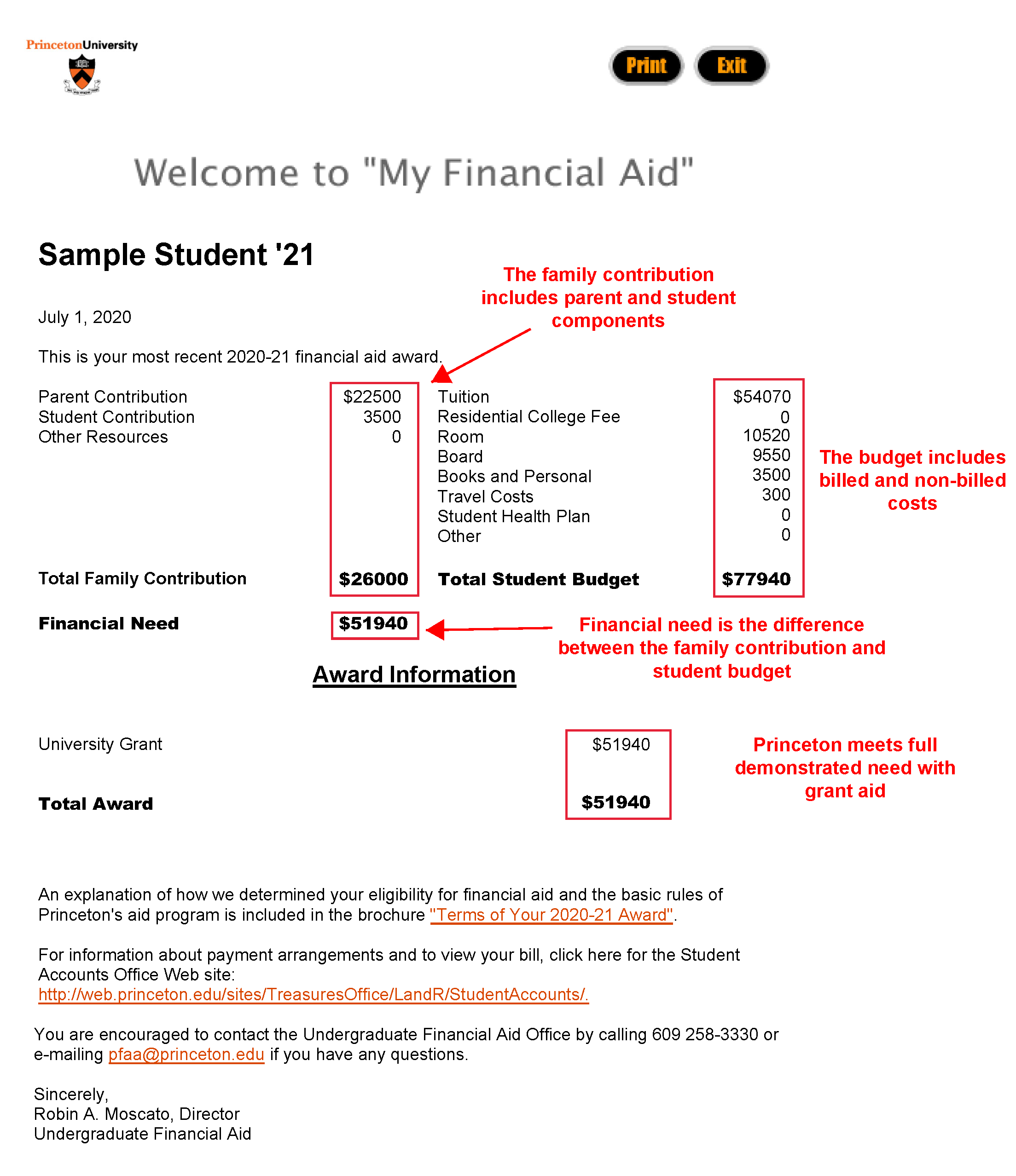 picture of sample financial aid award
